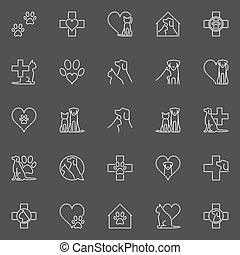 Pet and veterinary line icons