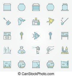 Aquarium colorful icons