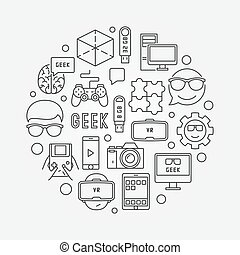 Round geek vector illustration - Round geek illustration....