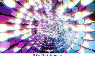 Flashing Light Tunnel - 4K UHD VJ colorful flashing light...