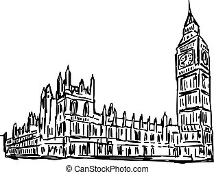 Big Ben and House of Parliament - vector illustration sketch...