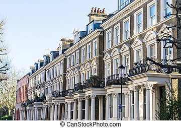 London - March 30: A row of typical town houses in London...