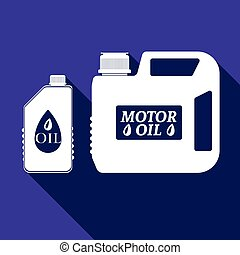 Blank plastic canister for motor oil icon with long shadow....