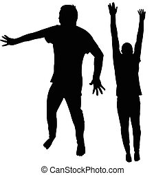 Two silhouettes of man with hands appart