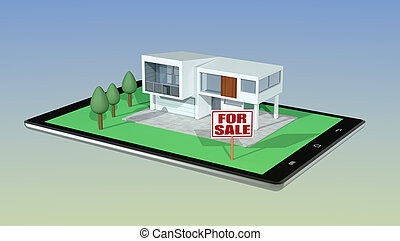 concept of online real estate market - modern house with a...