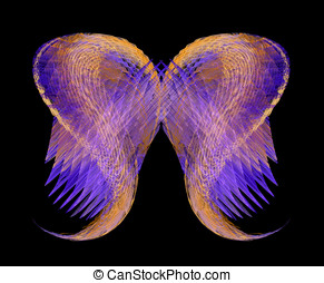 Mythical Angel Wings in Gold and Purple - Abstract angel...