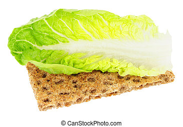 Crisp Bread With Lettuce Leaf Low Calorie Diet Food - Crisp...