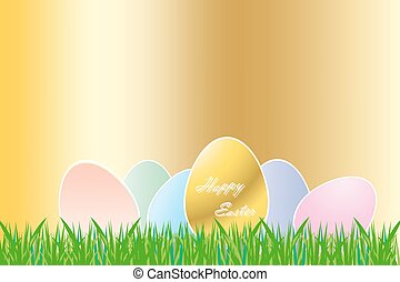 Easter golden eggs concept - The group of color eggs with...