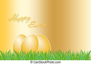 The golden Easter greetings card - Three golden eggs with...