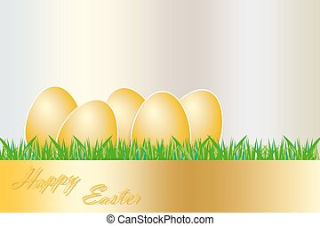 The group of golden eggs Easter card - The group of golden...