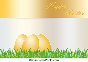 Golden eggs Easter card - Three golden eggs with white...