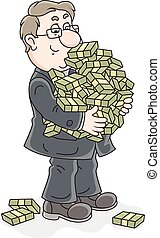 Businessman with money - Vector illustration of a chubby...