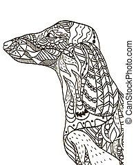 Dachshund head coloring book for adults vector illustration....