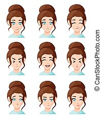 Beautiful cartoon woman faces showing different emotions woman emotion emoji icon set for interiors Flat design style vector illustration