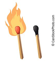 Match fire icon set for interiors Flat design style vector illustration