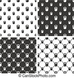 Kettlebell or Girya Weights for Fitness Big & Small Seamless Pattern Set