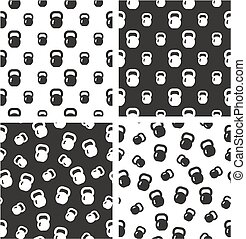 Kettlebell or Girya Weights for Fitness Big & Small Aligned & Random Seamless Pattern Set