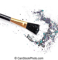 makeup brush with mixed color eyeshadow powder