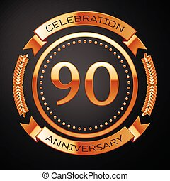 Ninety years anniversary celebration with golden ring and...
