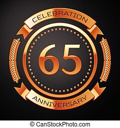 Sixty five years anniversary celebration with golden ring...