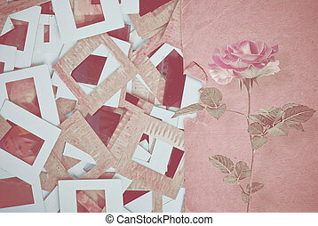 Set of vintage old slides, photos and film with rose on the...