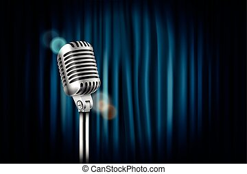 Stage curtains with shining microphone vector illustration. Standup comedy show concept