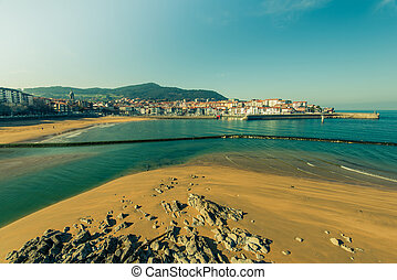Costaline vista in Basque Country, Spain. Filtered image