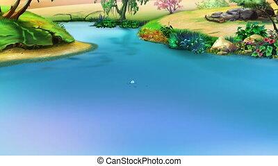 Big Black Hippopotamus Emerges from the Water. Handmade...