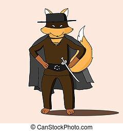 Fox wearing costume of Zorro movie character cartoon...