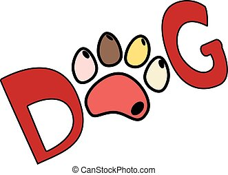 Dog red text word print with colorful paw isolated on background. Vector illustration.