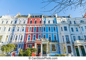 London - March 30: A row of colorful town houses in London...