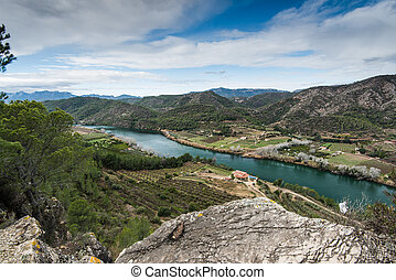 Panoramic vista over Ebro river valley,Spain from elevated...