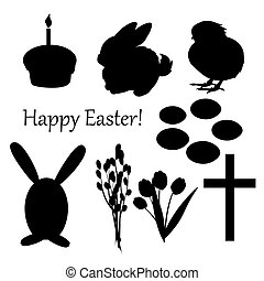Vector set of easter silhouettes on the white background