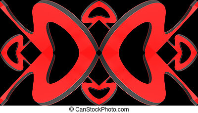 Abstract decorative background on a theme of love. 3D illustration.