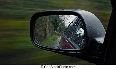 Wing Mirror Driving In Cloudy Rural Area - Wing mirror view...