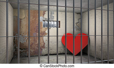love behind bars - heart in prison - symbolical 3d rendering...