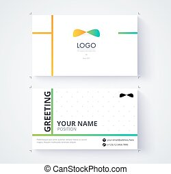 Business card template. Example logo and text position....