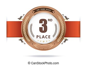 Bronze medal for third place. vector illustration