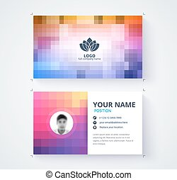 Abstract pixel business card template. contact card design.