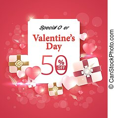 Valentine's day special offer 50% off design on pink background and heart element. vector banner background.
