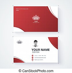 Red business card template with sample logo design. vector...