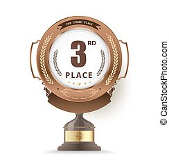 bronze trophy for third place. vector illustration