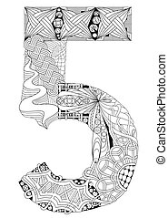 Number five Zentangle. Vector decorative object