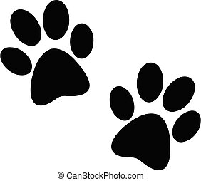 Black paw print - Paw prints pair