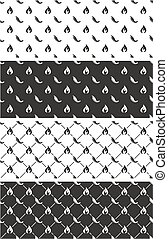 Hot Chili Pepper Seamless Pattern Set - This image is a...