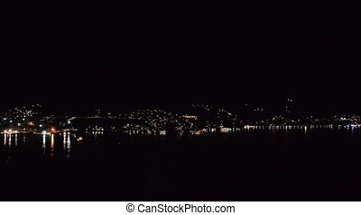 "Coastal city at night, ""Bay of Kotor"" (""Boka Kotorska""),..."