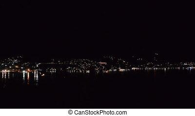 """Coastal city at night, """"Bay of Kotor"""" (""""Boka Kotorska""""),..."""