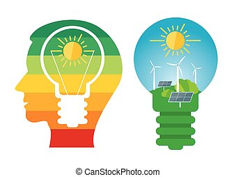 Renewable energies sources. - Male head with bulb and bulb...
