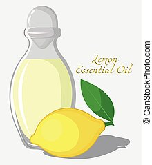 Lemon essential oil - Bottle with essential oil of lemon...