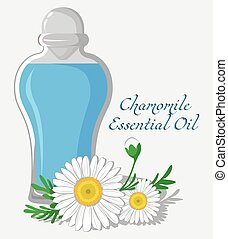 Chamomile Essential Oil - Bottle with essential oil of...